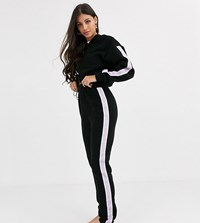 Asos Design Tall Lounge Microfleece Hoodie With Toggles And Highwaisted Legging Set Black