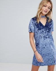 Hollister Crushed Velvet Choker Dress Midnight Blue