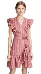 Rebecca Taylor Sleeveless Stripe Wrap Dress Desert Rose