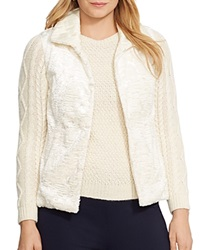 Lauren Ralph Lauren Plus Reversible Faux Fur Vest Modern Cream