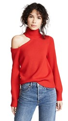 Alice Olivia Leora Cutout Blouson Turtleneck Cherry