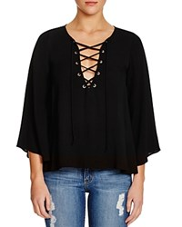 Vintage Havana Lace Up Blouse Black