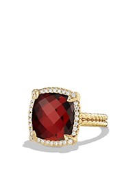 David Yurman Chatelaine Pave Bezel Ring With Garnet And Diamonds In 18K Gold Red Gold