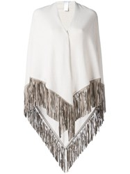 Agnona Fringed Knitted Poncho Nude Neutrals