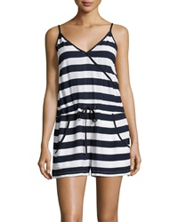 French Connection Sleeveless Striped Surplice Romper Nocturnal White
