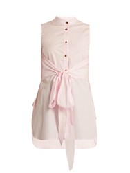 Khaite Angie Sleeveless Cotton Poplin Shirt Light Pink