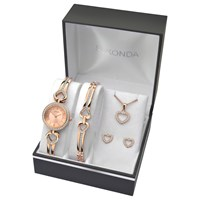 Sekonda 2363G Women's Jewellery Strap Watch Bracelet Pendant Necklace And Earrings Gift Set Rose Gold