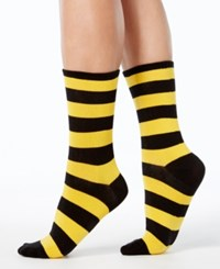 Hot Sox Women's College Rugby Striped Socks Black Sporty Yellow