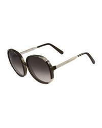 Chloe Round Capped Plastic And Metal Sunglasses Neutral