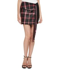 Magda Butrym Santa Fe Woven Leather Mini Skirt W Fringe Black