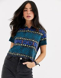 Quiksilver Polo Shirt In Aztec Print Multi