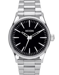 Nixon Sentry 38 Ss Silver Stainless Steel Watch With Black Dial