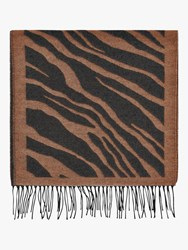 French Connection Tiger Jacquard Scarf Classic Camel Black