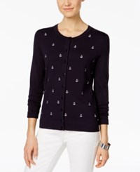 Charter Club Anchor Embroidered Cardigan Only At Macy's Deepest Navy