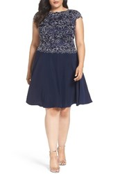Tadashi Shoji Plus Size Women's Embroidered Crepe Fit And Flare Dress