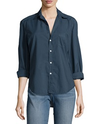 Frank And Eileen Eileen Long Sleeve Button Front Blouse Navy