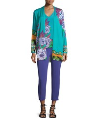 Etro Slim Fit Cady Capri Pants Purple Women's
