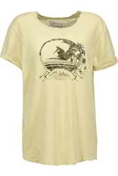 Current Elliott The Rolled Sleeve Printed Linen And Cotton Blend T Shirt Yellow