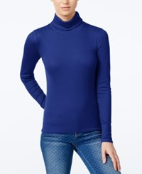 Planet Gold Juniors' Pullover Turtleneck Top Navy Peony