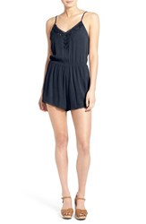 Women's Lush 'Cali' Lace Trim Romper Blue