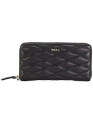 Dkny Quilted Zipped Wallet Leather Metal Other Black