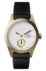 Triwa Women's Aska Leather Strap Watch 32Mm Black White Gold