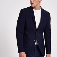 River Island Navy Skinny Suit Jacket