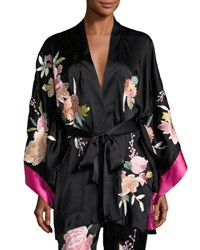 Josie Natori Lola Floral Embroidered Wrap Robe Black