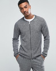 Selected Homme Zip Up Knit In Twisted Yarn Texture Grey