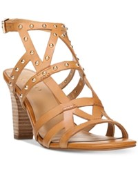 Franco Sarto Calesta Strappy Embellished Sandals Women's Shoes Tan