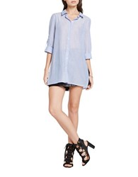 Bcbgeneration Striped Button Up Shirt Tunic Blue