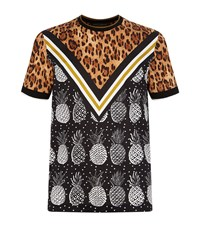 Dolce And Gabbana Leopard Pineapple Print Polo Shirt Male Brown