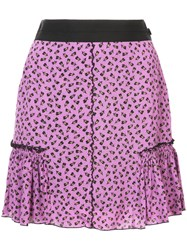 Coach Floral Print Skirt Pink And Purple