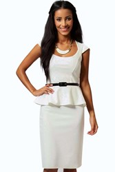 Boohoo Peplum Belted Midi Dress Ivory