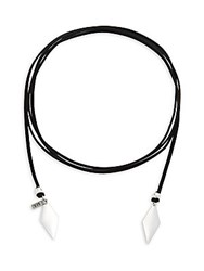 Vanessa Mooney Voltage Vegan Leather Cord Choker Necklace Silver