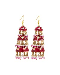 Chamak By Priya Kakkar Tier Drop Earrings Pink Multi