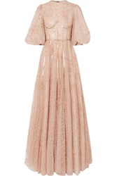 Costarellos Sequined Flocked Tulle Gown Beige