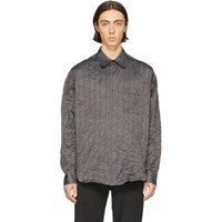 Our Legacy Grey Crushed Memory Striped Shirt