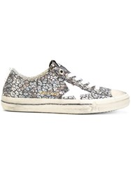 Golden Goose Deluxe Brand Star Print Low Top Sneakers Women Cotton Leather Nylon Rubber 39 Grey