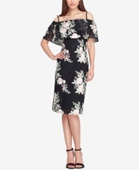 Tahari By Arthur S. Levine Asl Off The Shoulder Lace Flounce Dress Black Blush
