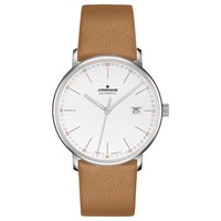 Junghans 027 4734.00 Men's Form Automatic Date Leather Strap Watch Camel White