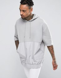 Asos Oversized Hoodie With Short Sleeves And Woven Pocket Paving Grey