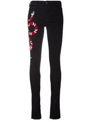 Gucci Snake Embroidered Jeans Black