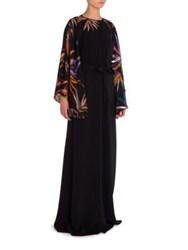 Emilio Pucci Silk Cady Embroidered Gown Black