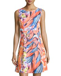 Neiman Marcus Floral Sleeveless Fit And Flare Dress Coral Multi