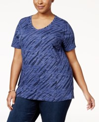 Style And Co Plus Size Cotton Snakeskin Print T Shirt Only At Macy's Industrial Blue