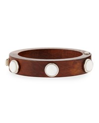 Wood And Pearly Cabochon Cubist Cuff Bracelet Multi Colors Lizzie Fortunato