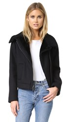 Vince Double Face Wool Shearling Moto Jacket Black