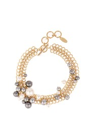 Lanvin Faux Pearl Chain Necklace Grey Multi