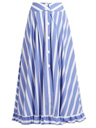 Thierry Colson Romane Striped Cotton Poplin Skirt Blue White